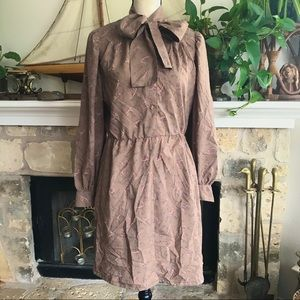 Vintage One of a kind 70s pussy bow shirt dress